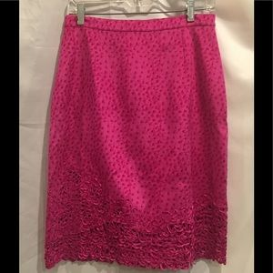 Vera Cristina Hot Pink Silk Skirt Sz 8